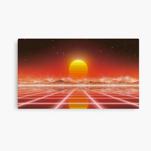 80's retro sun in synthwave landscape (Red)