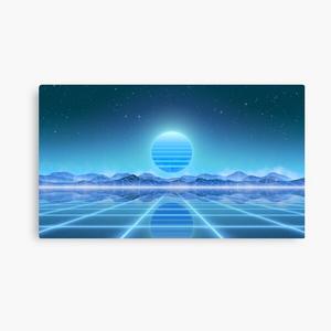 80's retro sun in synthwave landscape (Blue)