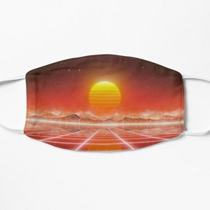 80's retro sun in synthwave landscape (Red) - Masks