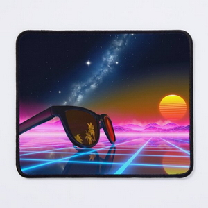 Sunglasses in a synthwave landscape