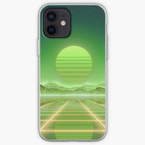 80's retro sun in synthwave landscape (Green)