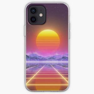 80's retro sun in synthwave landscape (Blue/Purple/Yellow)