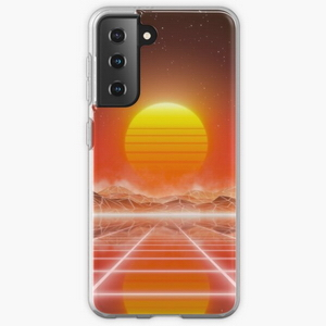 80's retro sun in synthwave landscape (Red) - Samsung phone cases