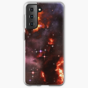 Fantasy nebula cosmos sky in space with stars (Purple/Yellow/Orange/Red) - Samsung phone cases