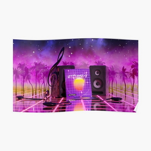 Synthwave music in music land with palm trees