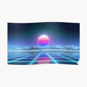 80's retro sun in synthwave landscape (Blue/Purple)