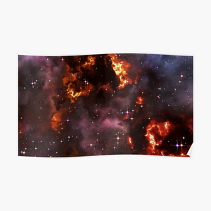 Fantasy nebula cosmos sky in space with stars (Purple/Yellow/Orange/Red)