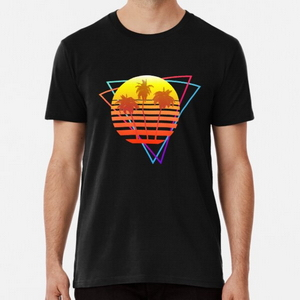 Synthwave Sun (with palm trees and triangles) - T-shirts