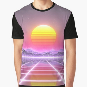 80's retro sun in synthwave landscape (Lilac/Purple/Pink)