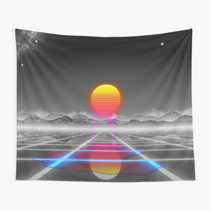 Dripping colored sun in a synthwave landscape