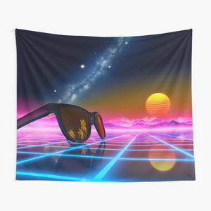 Sunglasses in a synthwave landscape - Tapestry