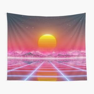 80's retro sun in synthwave landscape (Magenta/Pink)