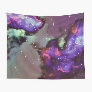 Fantasy nebula cosmos sky in space with stars (Purple/Cyan/Blue/Pink/Magenta) - Tapestry
